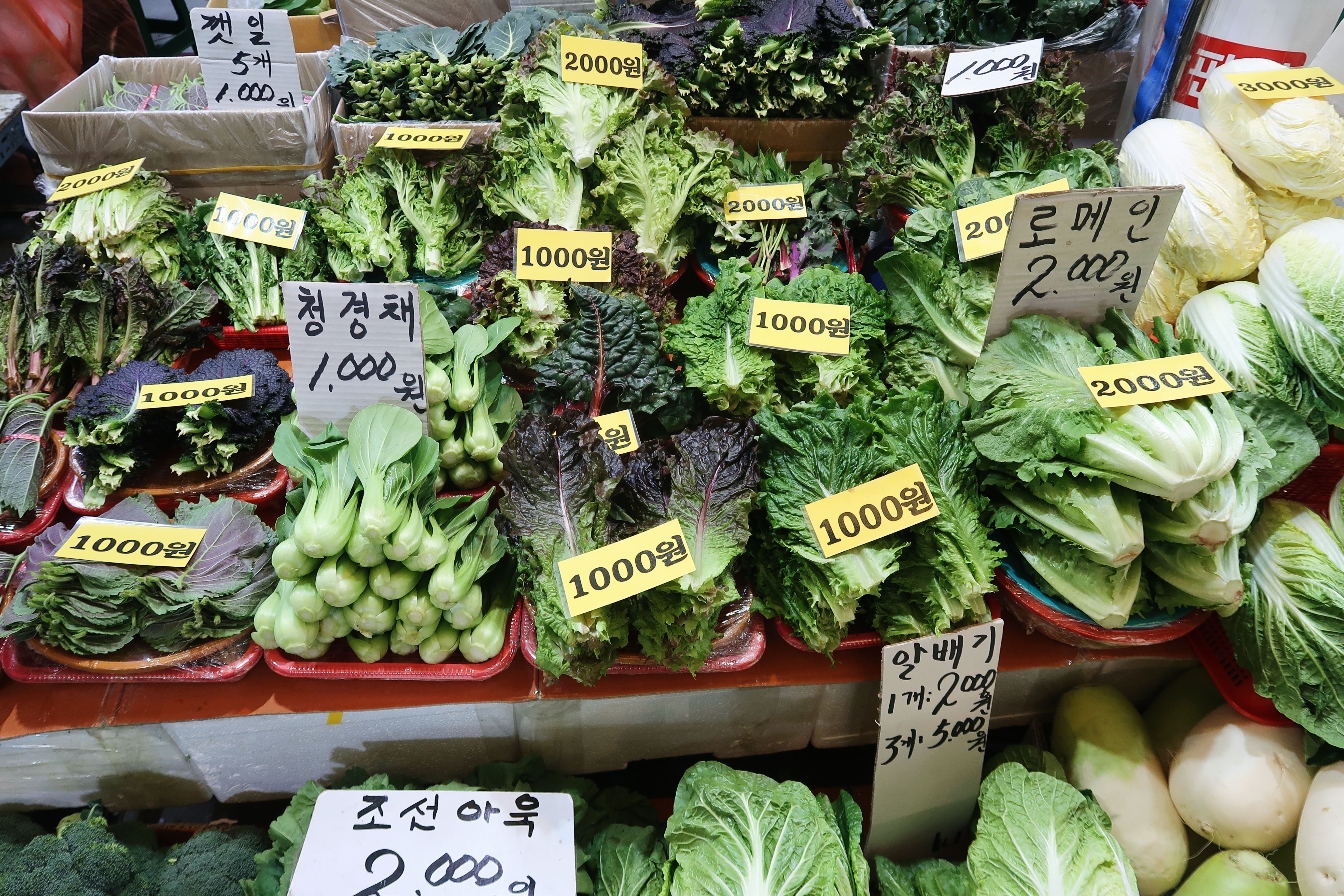 A stall in the traditional market selling a multitude of greens