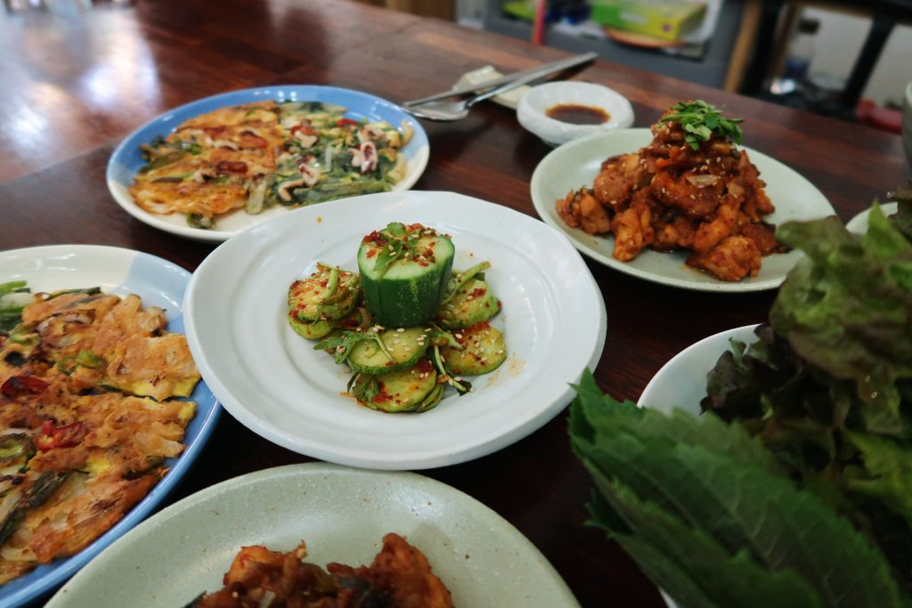 The end product of all the dishes that we made during the cooking class (Korean cuisine)