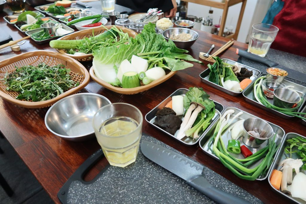 A photograph of some Yuja tea and the ingredients we would be using to make our Korean cuisine.