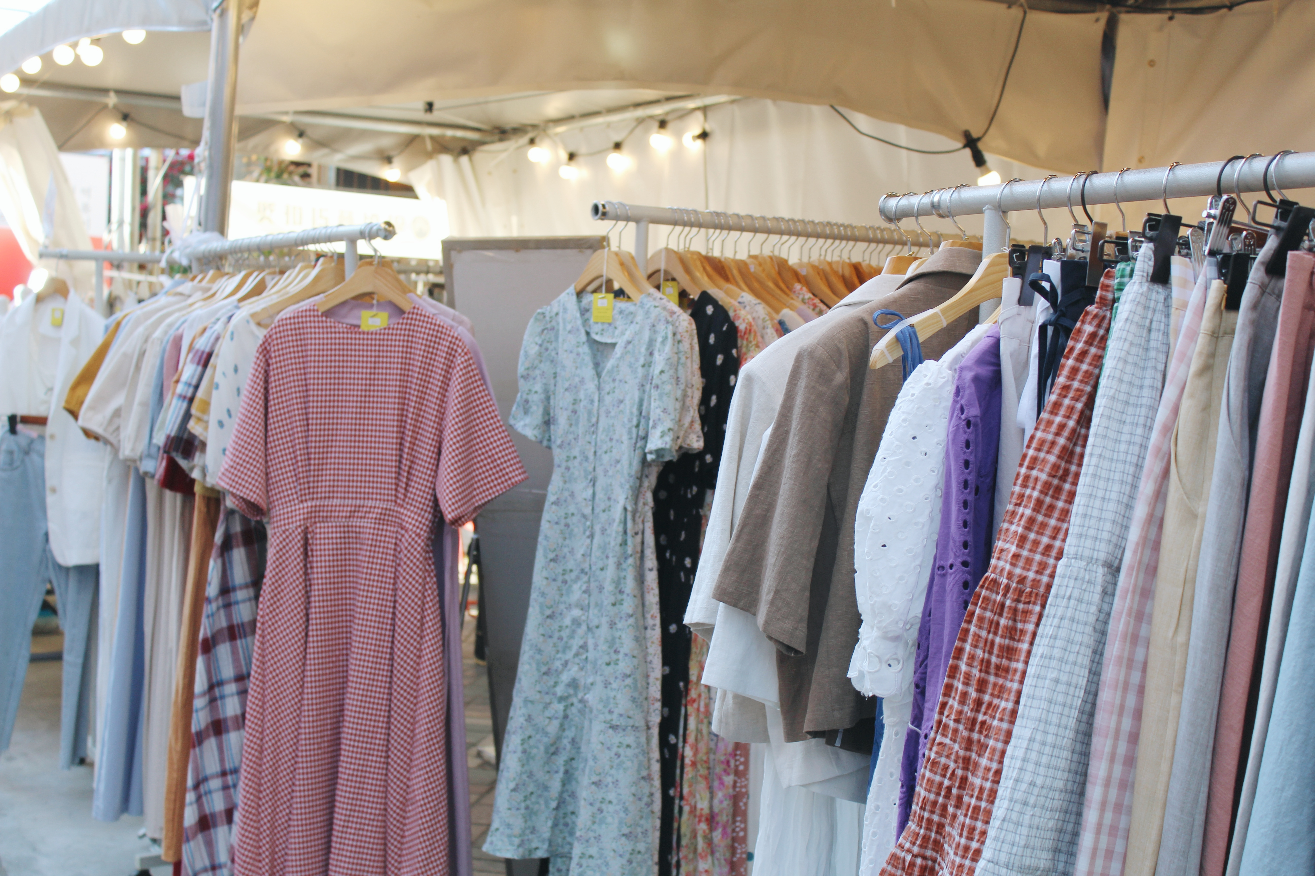 Dresses being sold at a booth in Ikseondong