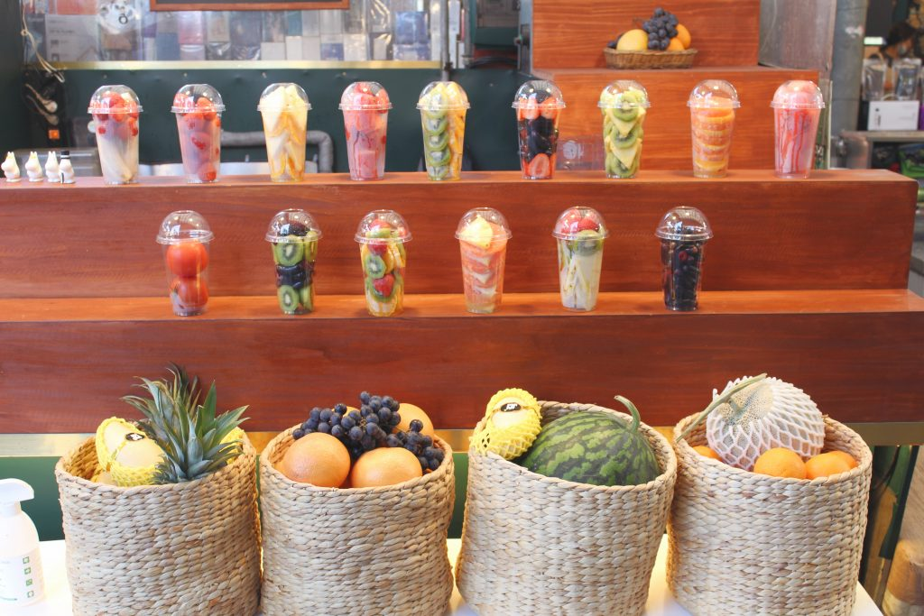 Fruit shakes on display to sell