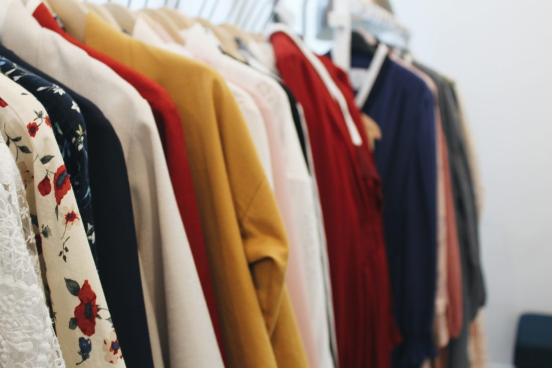 A rack of colourful clothes at LEESLE
